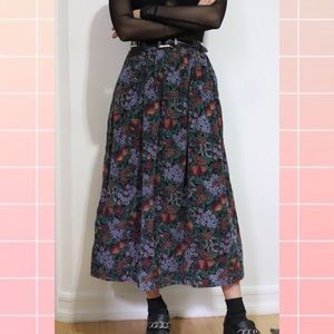 L.L. Bean Skirts - ❌SOLD❌ Vintage Fruit & Floral Print Corduroy Skirt